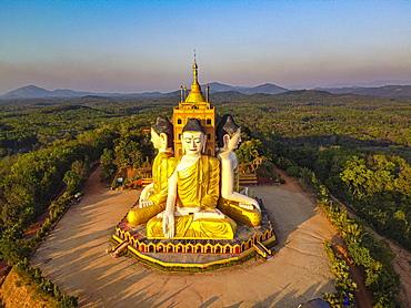Aerial of the huge sitting buddhas Ko Yin Lay, Pupawadoy Monastery near Ye, Mon state, Myanmar, Ye, Mon State, Myanmar, Asia