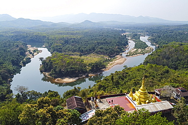 Aerial of the Shwemawdaw Paya and the Ye river, Kyaing Ywar near Ye, Mon state, Myanmar, Ye, Mon State, Myanmar, Asia
