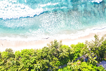 Seychelles Takamaka beach Mahe text free space copyspace paradise ocean drone image bird's eye view , Seychelles, Africa