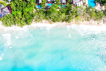 Seychelles beach Mahe Mahe island text free space copyspace sea ocean drone image bird's eye view , Seychelles, Africa