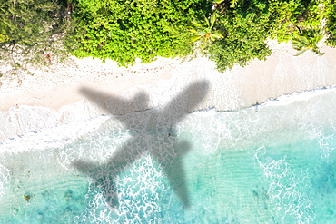 Beach travel holiday sea travel symbolic image airplane fly flight Seychelles aerial photograph water air travel , Seychelles, Africa