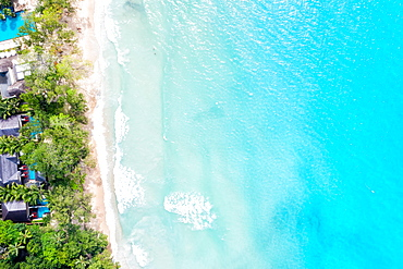 Seychelles beach Mahe Mahe island text free space copyspace sea drone image bird's eye view , Seychelles, Africa