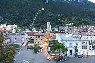 View of the center of Riva del Garda from the castle Rocca di Riva, Reiff, Bastione ruins behind, Lake Garda, Province of Trento, Trentino, Italy, Europe