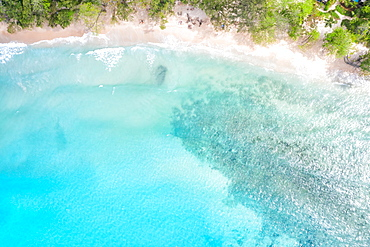 Takamaka beach Mahe Mahe paradise ocean drone shot bird's eye view, Mahe, Seychelles, Africa