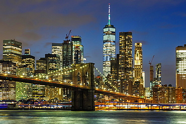 Skyline night city Manhattan Brooklyn Bridge evening World Trade Center WTC in the, New York City, USA, North America