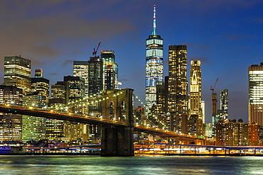 Skyline night city Manhattan Brooklyn Bridge evening World Trade Center WTC in the, New York City, USA, North America