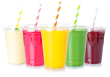 Various juices fruit juice drink juice cut out cutout isolated against a white background