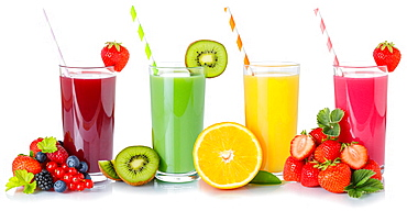 Fruit juice collection smoothie smoothies drink beverage fruits juice in glass exempted clipping isolated against a white background