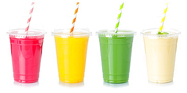 Various juices fruit juice drink juice in plastic cup exempted cutout isolated against a white background
