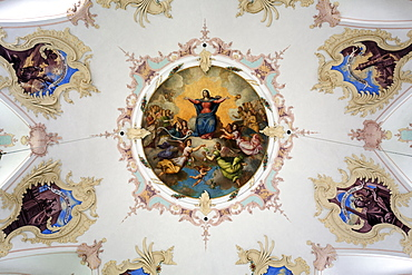 Ceiling fresco Loretto Chapel, Oberstdorf, Oberallgaeu, Allgaeu, Bavaria, Germany, Europe