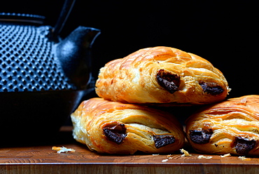 Pain au chocolat, stacked, Germany, Europe