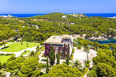 Aerial view, Villa March, Sa Torre Cega palace, Cala Gat, Cala Ratjada, Majorca, Balearic Islands, Spain, Europe