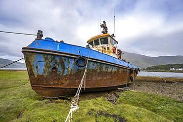 Verrostetes Schiffs Wrack, Old Boat of Coal, Loch Eil, Coal, Fort William, schottisches Hochland, Schottland, Grossbritannien