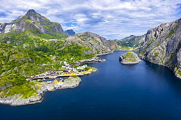 Aerial view, view of harbour and rorbuer cabins, historic fishing village Nusfjord, Lofoten, Nordland, Norway, Europe