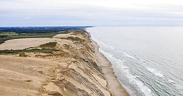 Aerial view, sand cliffs at the coast from Rubjerg Knude Fyr lighthouse, North Jutland, Denmark, Europe