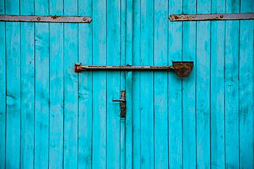 Turquoise garage door, detail, Mecklenburg-Western Pomerania, Germany, Europe