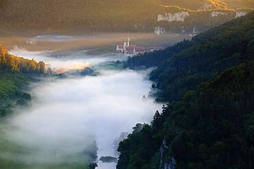 Archabbey St. Martin, Benedictine monastery, fog, Danube valley, Beuron, Upper Danube nature park Park, Baden-Wuerttemberg, Germany, Europe