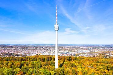 Television Tower Stuttgart Skyline Aerial View City Architecture in Stuttgart, Germany, Europe