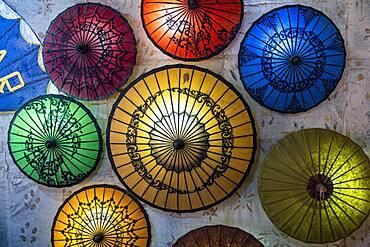 Hand made umbrellas, Inle lake, Shan state, Myanmar, Asia