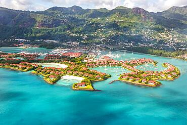 Eden Island beach paradise sea ocean aerial aerial view bird's eye view on Mahe, Seychelles, Africa