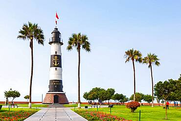 Lighthouse Faro La Marina Park landmark in Lima, Peru, South America