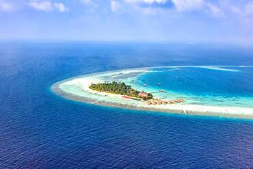 Island vacation paradise sea text free space copyspace Maayafushi resort aerial photo tourism in the Maldives