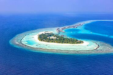 Island holiday paradise sea text free space copyspace Halaveli Resort Ari Atoll aerial photo tourism in the Maldives