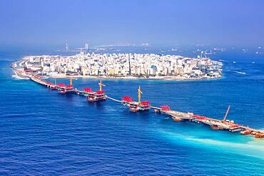 Island capital ocean bridge aerial view sea Male, Maldives, Asia