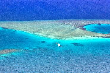 Vacation paradise ship boat sea text free space copyspace aerial photo tourism in maldives