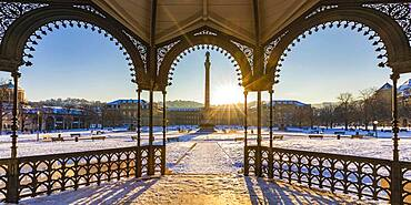 Palace square in winter at sunrise, art building, New Palace, Old Palace, city center, Stuttgart, Baden-Wuerttemberg, Germany, Europe