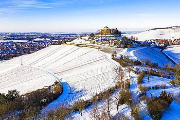 Aerial view grave chapel on the Wuerttemberg in winter, vineyards, snow, Stuttgart-Rotenberg, Stuttgart, Baden-Wuerttemberg, Germany, Europe