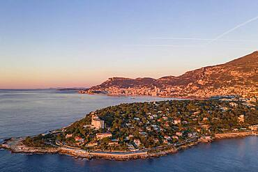 Aerial view Roquebrune Cap Martin shortly after sunrise, Cap Martin with former Grand Hotel du Cap Martin, in the back Principality of Monaco, Departement Alpes-Maritimes, Region Provence-Alpes-Cote d'Azur, France, Europe