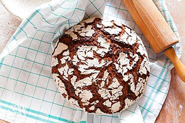 Home-made organic sourdough bread, Austria, Europe