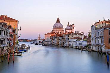 Evening atmosphere, long time exposure, view from the Ponte dell'Accademia to the Grand Canal and the Basilica Santa Maria della Salute, Venice, Veneto, Italy, Europe