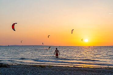 Sunset, Kitesurfer in Lake Constance, Bavaria, Germany, Europe