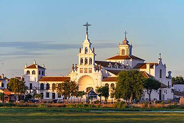 Hermitage of El Rocio, hermitage Ermita del Rocio in the evening light, El Rocio, Almonte, province of Huelva, Andalusia, Spain, Europe