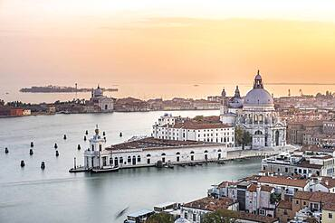 Evening atmosphere, Basilica di Santa Maria della Salute, view from the bell tower Campanile di San Marco, city view of Venice, Veneto, Italy, Europe