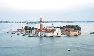 Island Isola di San Giorgio Maggiore with church San Giorgio Maggiore, view from the bell tower Campanile di San Marco on Venice, Venice, Veneto, Italy, Europe
