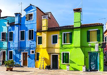 Colorful houses, colorful house facades, Burano Island, Venice, Veneto, Italy, Europe