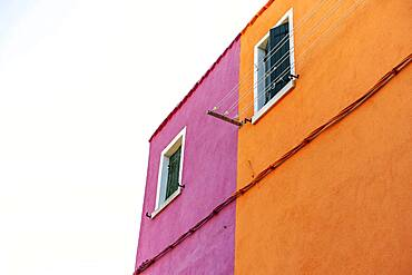 Window, orange and pink wall, colorful house wall, colorful facade, Burano Island, Venice, Veneto, Italy, Europe