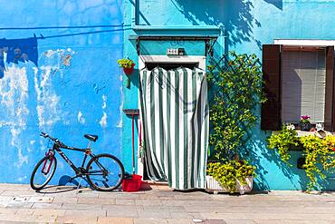 Bicycle in front of a blue house, colorful houses, colorful facade, Burano Island, Venice, Veneto, Italy, Europe