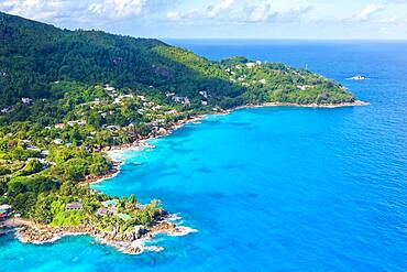 Landscape sea luxury villa beach ocean aerial view bird's eye view, Mahe, Seychelles, Africa