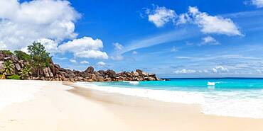 Grand Anse beach panorama holiday vacation, La Digue, Seychelles, Africa
