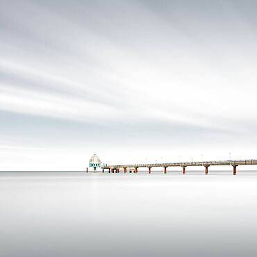Pier with diving gondola at the Baltic resort Zingst, Germany, Europe