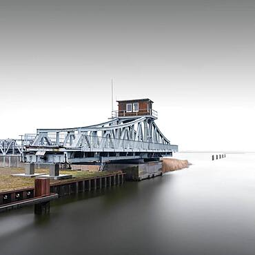 Historic Meiningen Bridge at the Baltic Sea. Last swing bridge, Zingst, Germany, Europe