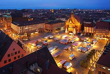 Aerial view, main market at Christmas time during Corona Pandemic without Christkindlesmarkt, Nuremberg, Middle Franconia, Franconia, Bavaria, Germany, Europe