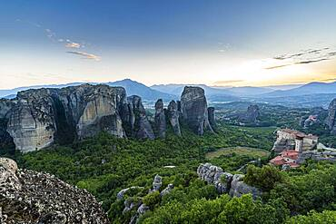 Anapavsas Monastery at evening light, Meteora monastery, Thessaly, Greece, Europe