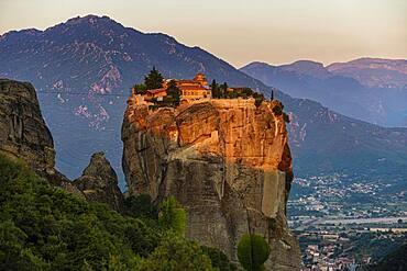 Agia Triada Monastery at sunrise, Meteora monastery, Thessaly, Greece, Europe