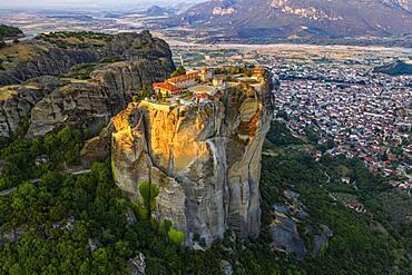 Aerial, Agia Triada Monastery at sunrise, Meteora monastery, Thessaly, Greece, Europe