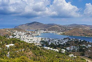 Overlook over Patmos an the town of Skala, Patmos, Greece, Europe